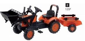 Tracteur à pédales chargeur et remorque KUBOTA
